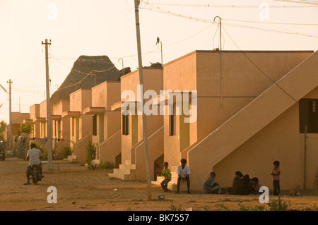 This is an image of a row of tsunami relief homes built for a village in south India affected by a tsunami. - Stock Photo