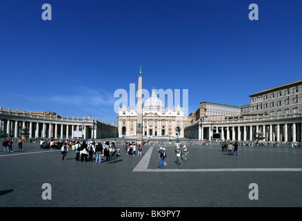 View from Saint Peter's Square to St. Peter's Basilica, Vatican City, Rome, Italy - Stock Photo