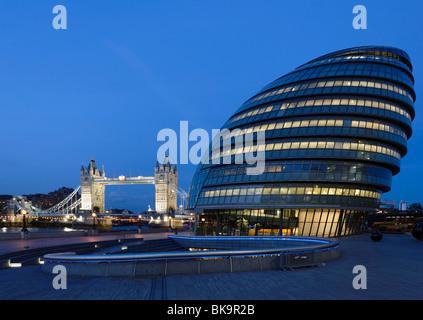 City Hall and Tower Bridge, Southwark, London, England, England, United Kingdom - Stock Photo