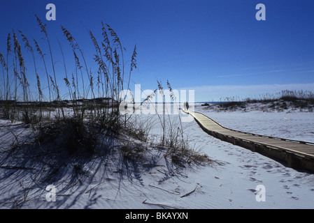 Couple on boardwalk near San Destin Northern Florida Panhandle US - Stock Photo