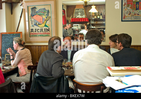 Paris, France, People Sharing Meals in French Basque Region Restaurant, 'Ami Jean', - Stock Photo