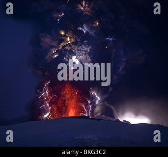 Lightning  and Lava in ash cloud during Eyjafjallajokull Volcanic Eruption, Iceland April 18, 2010 - Stock Photo