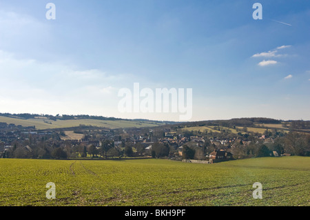 Horizontal wide angle view across the Chiltern Hills of Old Amersham in Buckinghamshire on a sunny spring day. - Stock Photo
