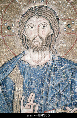 11th century mosaic of Christ, detail in the south gallery, Hagia Sophia, Istanbul, Turkey - Stock Photo