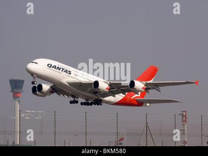 VH-OQC Qantas Airbus A380-842 taking off from London Heathrow - Stock Photo