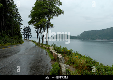 Stock photograph of deserted wet road on rainy day on Sargeant Drive at Somes Sound, Acadia National Park, Maine, - Stockfoto