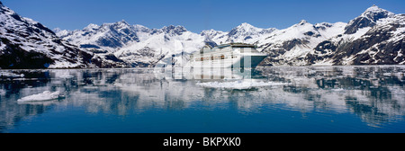 *Sea Princess* @ Entrance of Johns Hopkins Inlet AK SE Glacier Bay NP Summer - Stock Photo