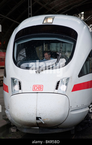 Detail of German DB Deutsche Bahn ICE Inter City Express high speed train at Leipzig railway station in Germany - Stock Photo