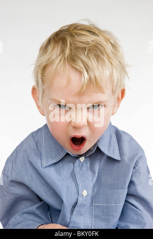 toddler angry boy screaming - Stockfoto