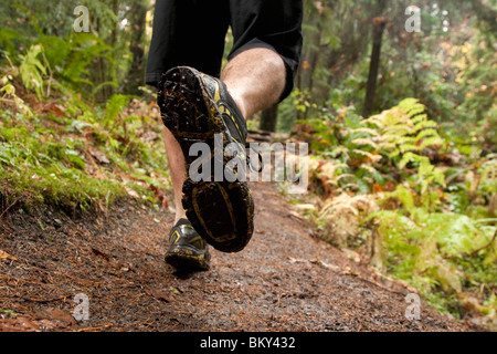 The feet of a man trail running along a wet muddy trail in the Olympic National Park. - Stock Photo