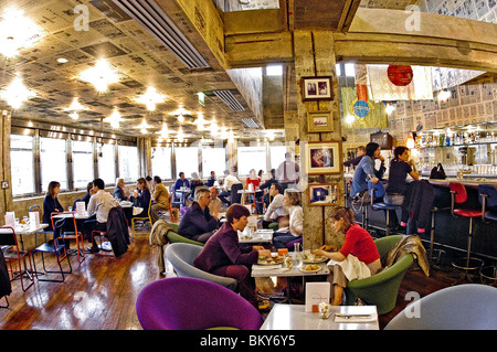 Paris, France, Adults Eating Lunch in Trendy Paris Bistro Bar, Top Of Le Printemps Department Store, 'The World - Stock Photo