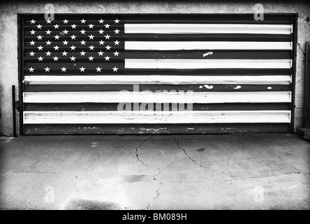 American flag on garage door - Stock Photo