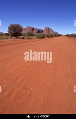 Outback Track und Kata Tjuta, The Olgas, View from Docker River Road, Uluru-Kata Tjuta National Park, Northern Territory, - Stock Photo
