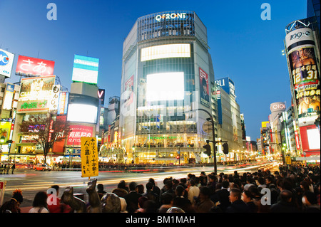 Night lights at Shibuya crossing, Shibuya ward, Tokyo, Japan, Asia - Stock Photo