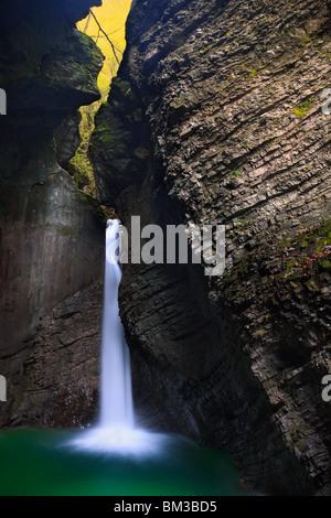 The lonely cascade of Slap Kosjak near Kobarid, Primorska, Slovenia - Stock Photo