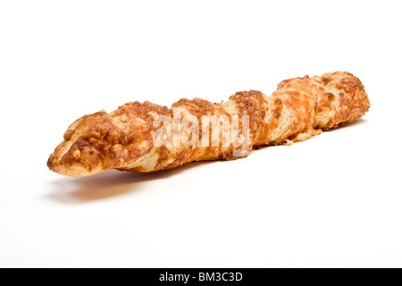 Cheese Twist Pastry from low perspective isolated against white background - Stock Photo