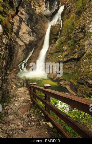 The majestic Slap Savica at the Western end of Lake Bohinj near Ribcev Laz, Gorenjska, Slovenia - Stock Photo