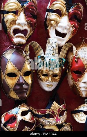 Venice - Traditional Venetian carnival face masks - Stock Photo