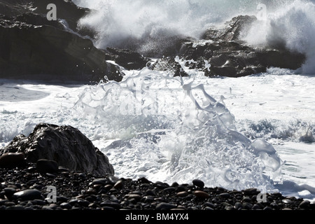 Heavy Atlantic seas with large waves crashing onto the beach at Ajuy on the Canary Island of Fuerteventura, a detail - Stock Photo