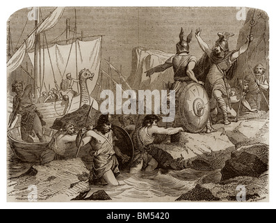 Towards 810, Vikings came to pirate along the coasts of Frisia (now Germany). - Stock Photo