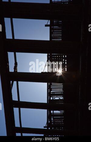 Fire Escape in Cortlandt Alley, Tribeca, New York City - Stock Photo