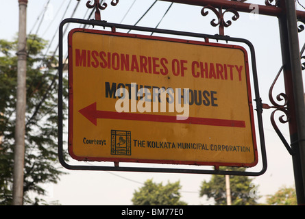 A sign for Mother House, the former home of Mother Teresa in Kolkata, formerly called Calcutta in West Bengal, India. - Stock Photo