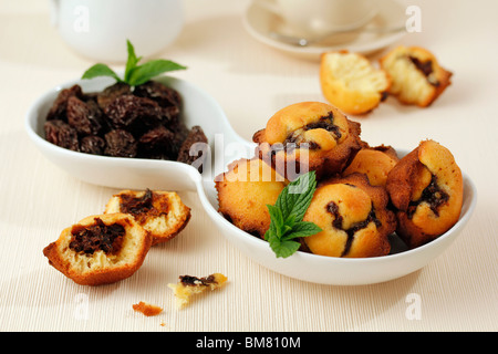 Prunes muffins. Recipe available. - Stock Photo