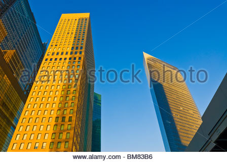Looking Up Skyscraper Office Building Towers in Shiodome. - Stock Photo
