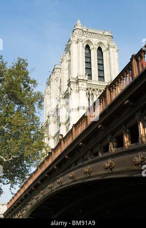 France, Paris, Pont au Double and Notre Dame Cathedral - Stock Photo
