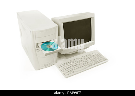 Desktop Computer and CD-ROM Drive close up shot - Stock Photo