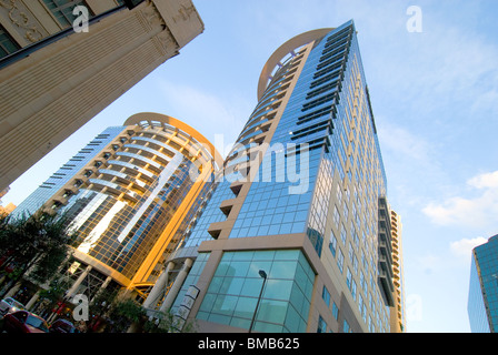 Two towers of Premiere Trade Plaza in city center of Orlando, Florida, USA - Stock Photo