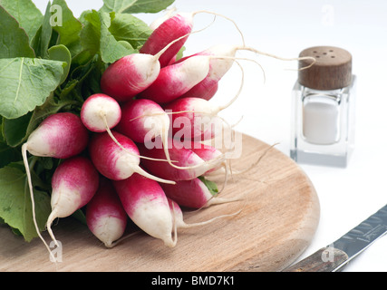 A Bunch Of Fresh French Breakfast Radish On A Wooden Chopping Board, With A Salt Pot and knife, On A White Background - Stock Photo
