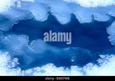 Scandinavia, Sweden, Harjedalen, Ice formation on watercourse - Stock Photo