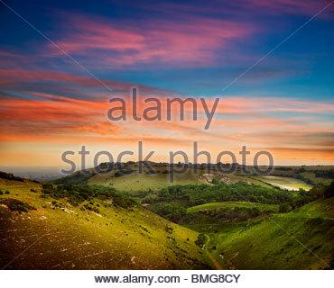 Evening landscape sunset over Devil's Dyke - west sussex -uk - Stock Photo