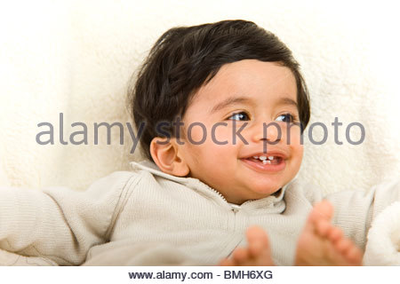 1 year old boy with indian origin - Stock Photo