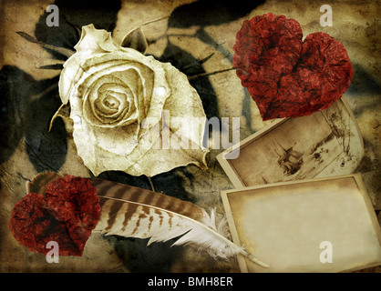 Grunge image with rose and hearts - Stock Photo
