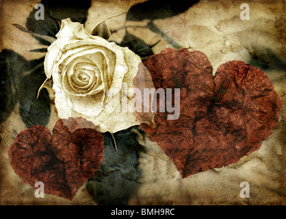 Grunge image of rose and hearts - Stock Photo