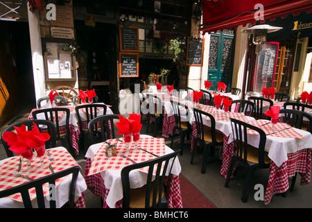 Terrace of the restaurant La Maison de Verlaine in Mouffetard district, Paris, France - Stock Photo