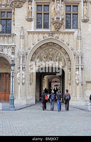 City hall, Grand Place, Brussels, Belgium - Stock Photo