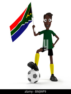Smiling cartoon style soccer player with ball and South Africa flag - Stockfoto