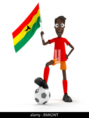 Smiling cartoon style soccer player with ball and Ghana flag - Stockfoto
