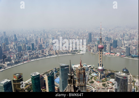Smog and pollution over the city viewed from above, Shanghai, China - Stock Photo