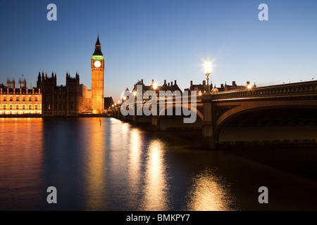 Big Ben and Westminster Bridge viewed at dusk London - Stock Photo