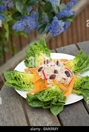 Salad with olives and radishes, with vegan houmous. - Stock Photo