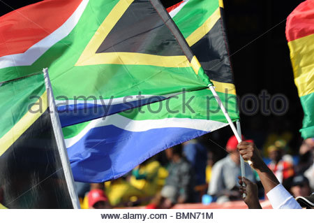 Pretoria South Africa 13-6-2010: World Cup football South African flags. - Stockfoto