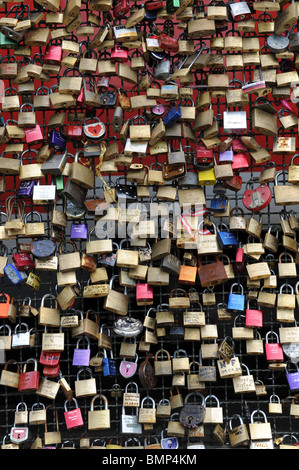 Love locks on the Hohenzollern Bridge in Cologne, Germany Koln Deutschland Europe - Stock Photo