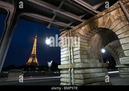 The Eiffel Tower from the Pont de Bir Hakeim, Paris - Stock Photo