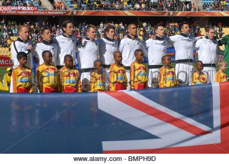 Rustenburg South Africa Royal Bafokeng Stadium World Cup match New Zealand vs Slovakia. New Zealand national anthem. - Stock Photo