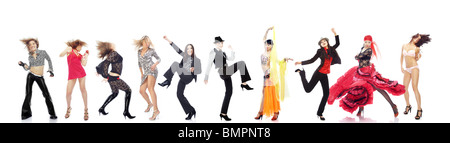 Group of the various women performing different dances on a white background - Stock Photo