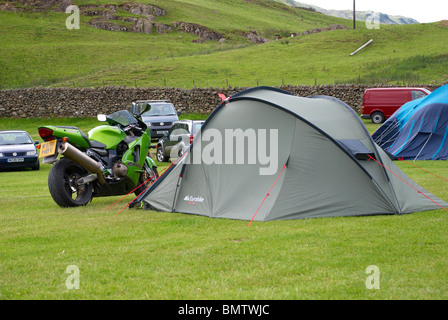 Bikers camping in The Lakes. - Stock Photo